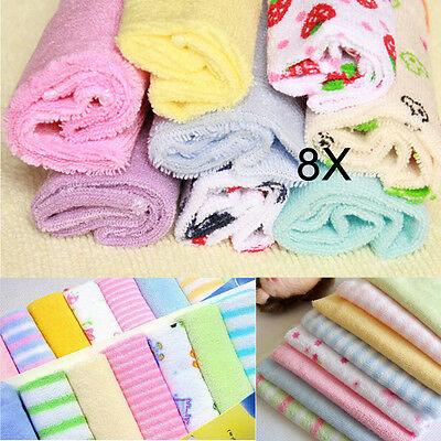 8Pcs/Pack Baby Face Washers Hand Towels Cotton Wipe Wash Cloth Gift NEW