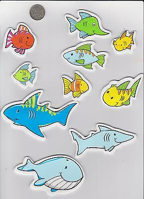 1 packet  of 10 Large Foam Stickers Fishes Mix. Scrapebooking , card makeing