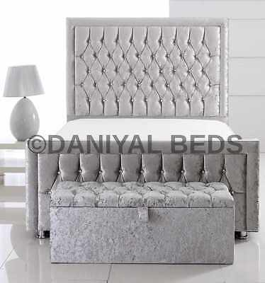 Special Princess Crushed Velvet/chenille Bed Available 3Ft,4Ft,4.6Ft,5Ft,6Ft