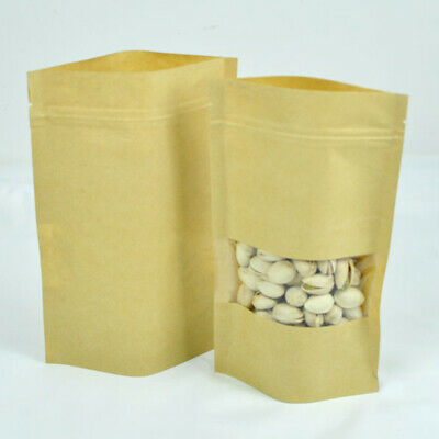 "100x Kraft Paper Stand Up Zip Lock Bag Pouches w/ Window 14x22cm (5.5x8.6"")"