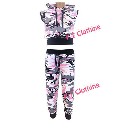 New Kids Girls Camouflage Jogger Hoodie Pant Trouser Set Age 2-13 Years