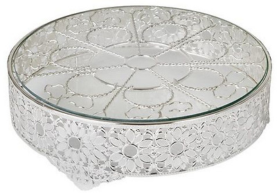 New Cake Stand Dia 14' Daisy Silver Plated Glass 35Cm