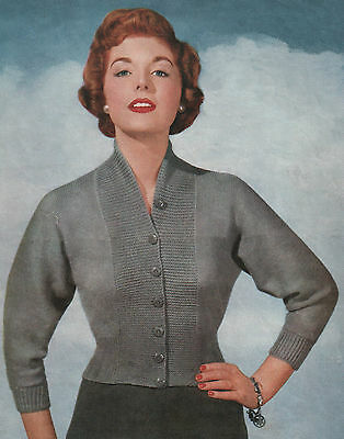 Vintage Knitting Pattern Lady's 1950s Fitted Cardigan. 34 to 38 Inch Bust.