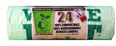 24 X Eco Bag 10 Litre Compostable Biodegradable Kitchen Waste Bin Caddy Liner