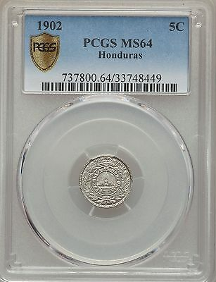 1902 Honduras 5 Centavos PCGS MS 64, Rare, Finest Known Example by a Mile