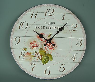 Vintage Style Cream Pink Chintz Rose Wall clock Belle Jardiniere Lace effect