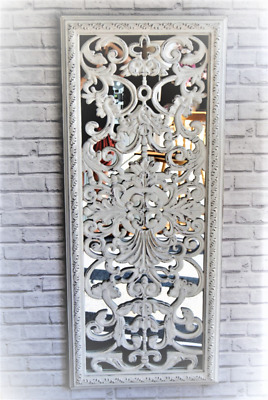 Large Ornate Rectangle Mirror with Distressed Antique White Baroque Leaf Carved