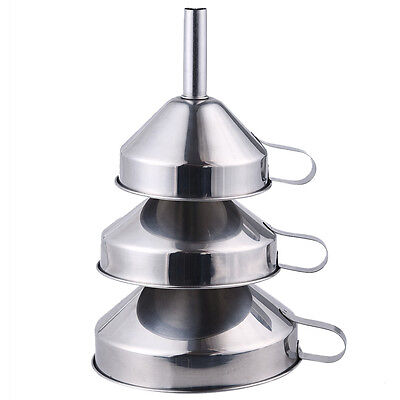 3 x Kitchen Technology Non-Magnetic Thick Stainless Steel Funnel Suit