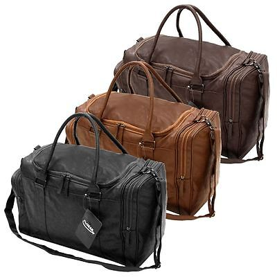 Large Faux Leather Sports Gym Travel Golf Holdall Luggage Duffle Weekend Bag