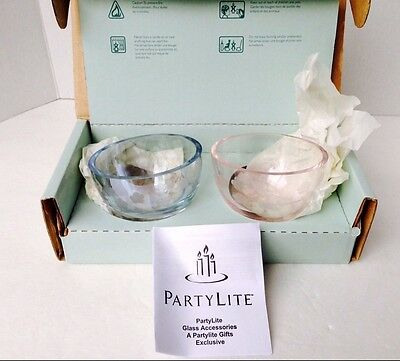 PartyLite ~ HYDRANGEA CANDLE HOLDER PAIR  P7270  New in Box