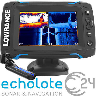Lowrance Elite 5 Ti Touch mit 83/200 455/800 kHz TotalScan Geber Echolot GPS