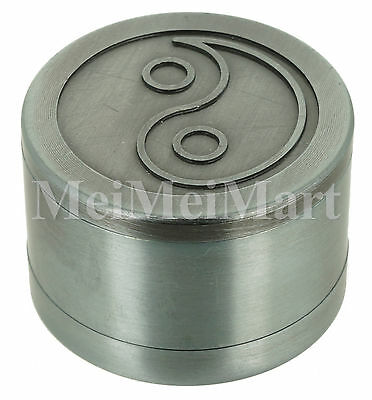 """Pewter Style Grinder 1.6"""" 3 Piece Indent YinYang Spice Crusher GR14"""