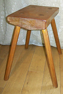 Tabouret Bois Rectangle 4 Pieds Design Vintage 50 Dlg Perriand Chalet Scandinave