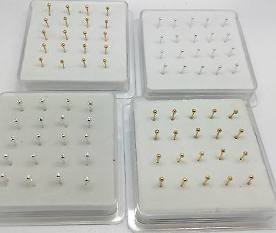 Box of 20 Tiny 925 Silver Nose Studs Pins - Straight Back - Gold or Silver