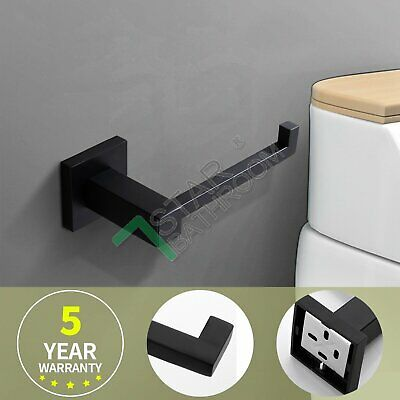 Black Square Toilet Paper Roll Holder Hanger Hook Stainless Bathroom Washroom