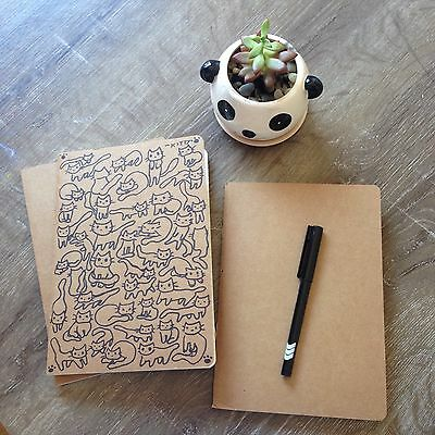 A5 Kraft Blank Cover Vintage Journal Memo Notebook Notepad Lined Diary -DIY