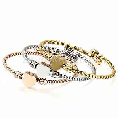 3pcs Elastic Stainless Steel Twisted Cable Heart Beaded Bangles Cuffs Women Gift