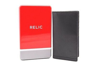 Relic by Fossil Executive Checkbook Wallet  Men's Black n Grey Graham in Tin Box
