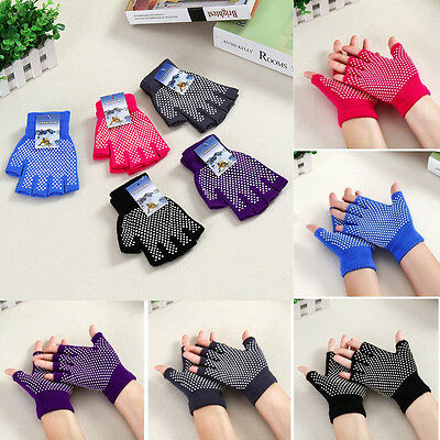 NEW Yoga Fingerless Non Anti Slip Grip Sticky Gloves Sport Exercise Equipment G