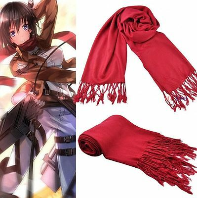 FD3802 Attack on titan Shingeki no Kyojin Cosplay Mikasa Ackerman Scarf Costume^