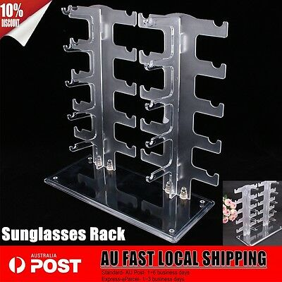 10 Pairs Sunglasses Glasses Display /Show Stand Holder Rack Plastic Transparent