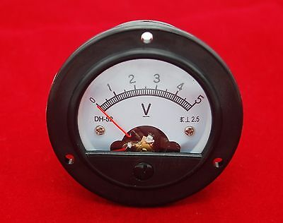 DC 0-5V Round  Analog Voltmeter Voltage panel meter Dia. 66.4mm DH52
