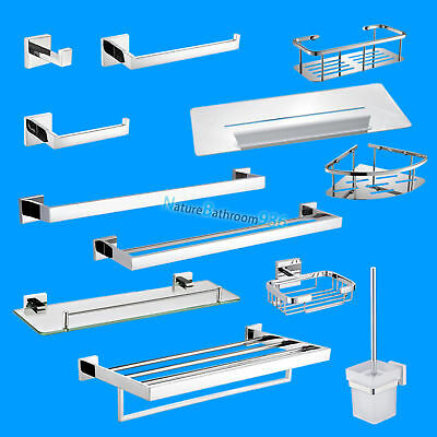 Square Single Double Towel Rail Rack Paper Roll Holder Hook Caddy Toilet Brush