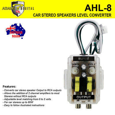 AHL-8 Level Car Speaker High to Low Converter Adapter 2 Channel Line Out