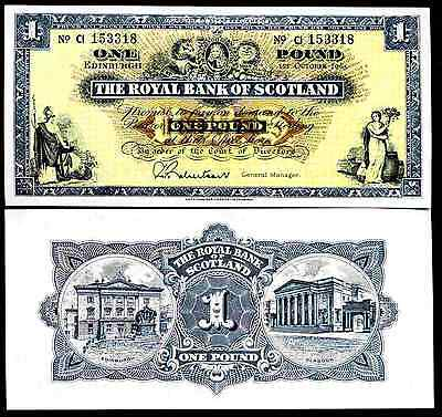 Royal Bank of Scotland. One Pound, series CI, 1-10-1965, Extremely Fine.