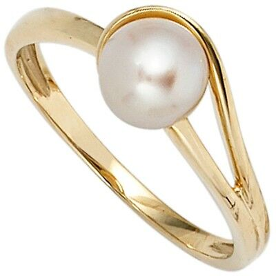 Ladies Ring with Cultivated Freshwater Pearl 585 Gold Yellow Finger