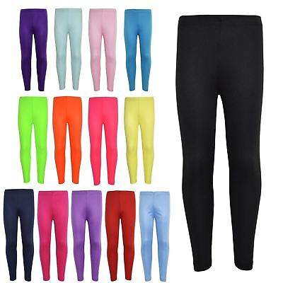 Gilrs Legging Kids Plain Color School Fashion Dance Leggings New Age 5-13 Years