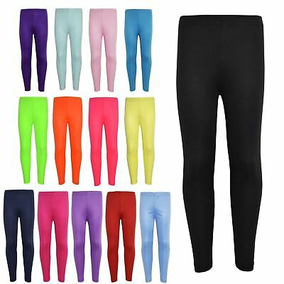 Girls Legging Kids Plain Color School Fashion Dance Leggings New Age 5-13 Years