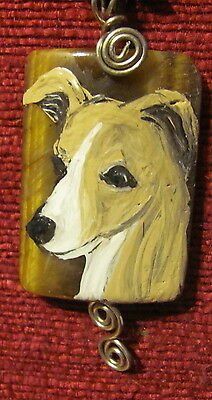 Italian Greyhound hand painted on wire warpped Tigereye pendant + necklace