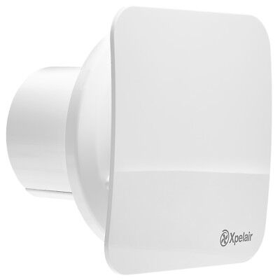 "Xpelair C4PS 4"" Quiet Silent Ghost Bathroom Square Extractor Fan with Pullcord"