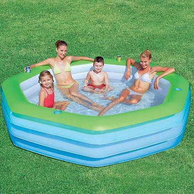 New Bestway Deluxe Octagon Inflatable Swimming Pool Swim Fun Joy For Kids Family