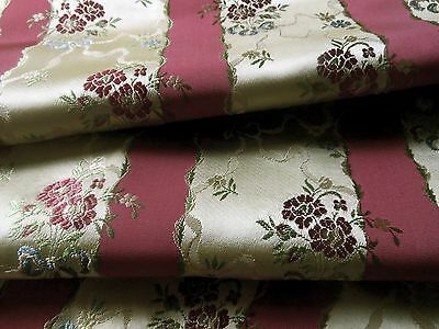 Vintage French Lisere Floral Satin Brocade Fabric ~ Raspberry Blue Green Cream