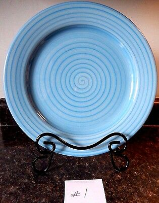 "Coors Pottery Blue Swirl 10-5/8"" Dinner Plates (4) VGC ~ Fast Shipping!"
