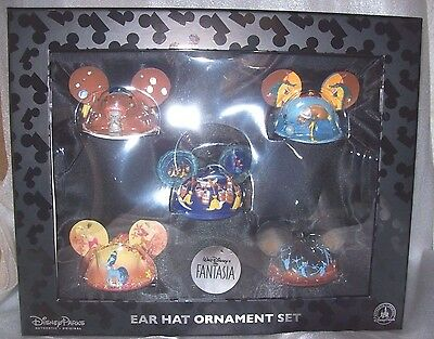 Disney Store Fantasia Ear Hat Ornament Set Of 6 New In Box Msrp$150.00