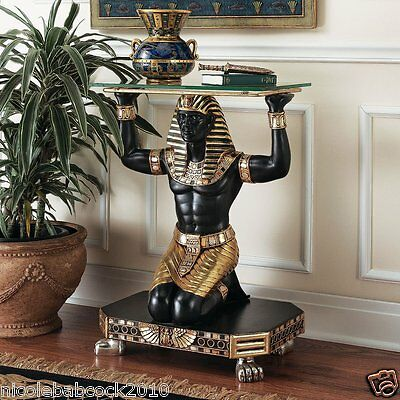 Ancient Egyptian Revival Servant To The Pharoah Sculptural Glass Top