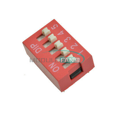 20pcs Red 2.54mm Pitch 5 PositionWay 5-Bit Slide Type DIP Switch Module New