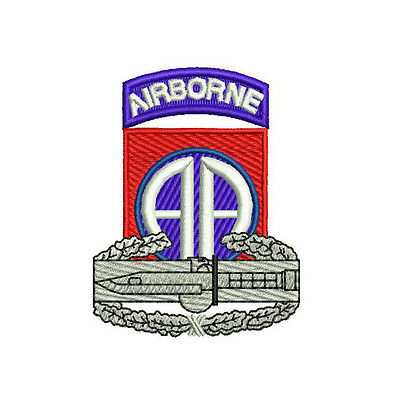 US Army 82nd Airborne CAB Combat Action Badge Embroidered Polo Shirt