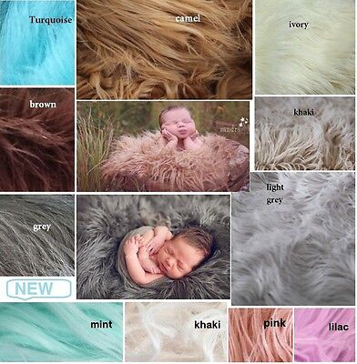 NEW Mongolian Long Faux Fur Baby Fabric Stuffer Blanket Photography Photo Prop