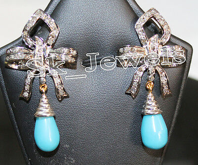Victorian Style 2.10ct Rose Cut Diamond Turquoise Wedding Earring