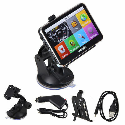 """New 4.3"""" inch GPS SAT NAV Car Navigation System Free Map Update Charger 4GB"""