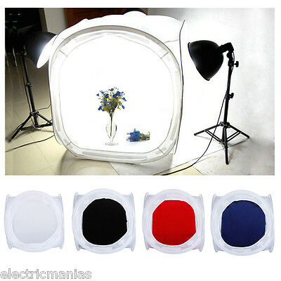 "50 x 50cm Photo Studio Shooting Tent Soft Box Light Cube 24"" with 4 Backdrops UK"