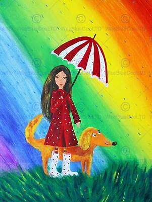 Painting Drawing Girl Dog Rainbow Umbrella Rain Colour Red Coat Poster Bmp11422