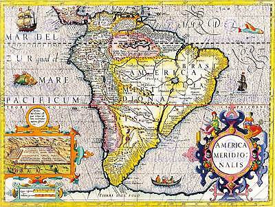 Map Antique South America Brazil Pacific Atlantic Ocean Cuico Peru Print Bb8216
