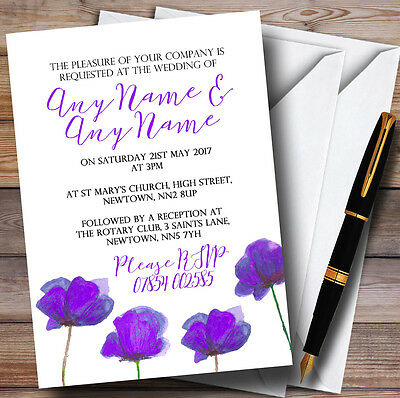 Stunning Watercolour Poppies Purple Personalised Wedding Invitations