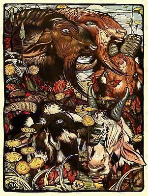Painting Book Aesop Fables Detmold Goats Wild Goatherd Art Print Poster Hp1174