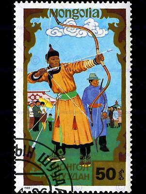 MONGOLIA VINTAGE STAMP POSTAGE ARCHERY PHOTO ART PRINT POSTER PICTURE BMP1697A